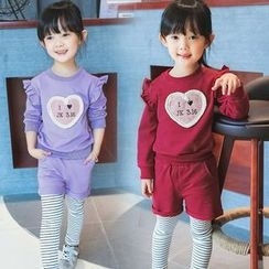 Merry Go Round - Kids Set: Ruffle Trim Pullover + Shorts