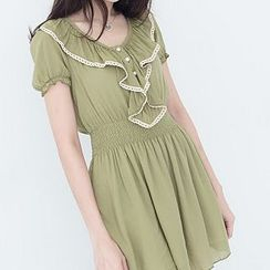 CatWorld - Short-Sleeve Ruffled Lace Trim Dress
