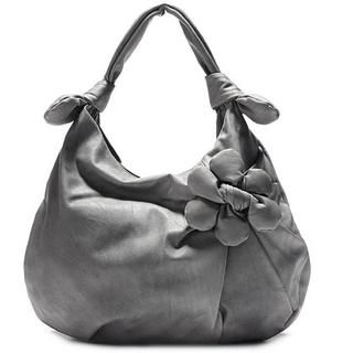MBaoBao - Flower-Accent Pleated Hobo Bag