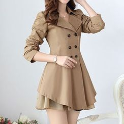Donnae - Ruffle Double-Breasted Trench Coat