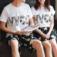 Evolu Fashion - Couple Matching Set : Letter Short-Sleeve T-shirt + Shorts