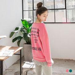 OrangeBear - Texted Print Back Fleece Lined Sweatshirt