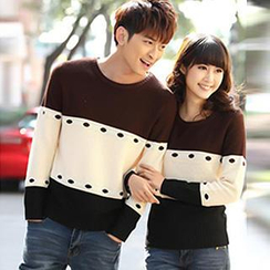 Igsoo - Couple Color Block Sweater