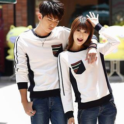 Igsoo - Couple Long-Sleeve Pinstriped T-Shirt