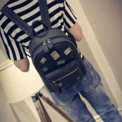 Bag Affair - Badge Faux-Leather Backpack