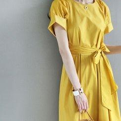 STYLEBYYAM - Round-Neck A-Line Dress with Sash
