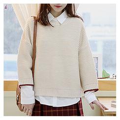 Sechuna - Drop-Shoulder Knit Top