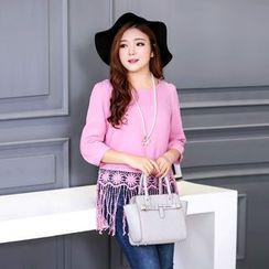 CAIDOBLE - 3/4-Sleeve Fringed Top