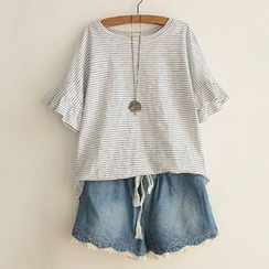 Angel Love - Stripe Frill Sleeve T-shirt