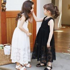 Cuckoo - Kids Lace Trim Sleeveless Maxi Dress