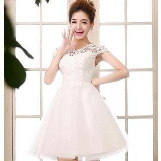 Bridal Elegance - Cap-Sleeve Lace Mini Prom Dress
