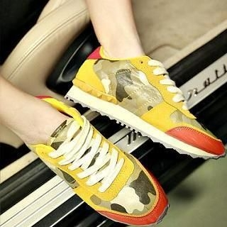 JUN.LEE - Camouflage Panel Sneakers