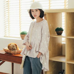 11.STREET - Printed Frilled Long-Sleeve Top