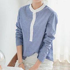Ashlee - Striped Mandarin Collar Blouse
