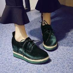 錦洋鞋業 - 內增高絲絨牛津鞋