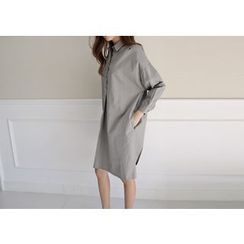 Hello sweety - Drop-Shoulder Half-Placket Shirtdress