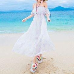 Isadora - Watercolor Off Shoulder Maxi Chiffon Dress