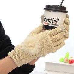 Magic Beauty - Pompom Cable Knit Gloves