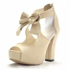 Mancienne - Bow-Accent Platform Heel Sandals