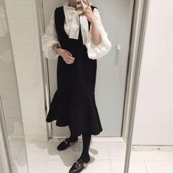 DISCOSALON - Sleeveless Ruffle-Hem Wool Blend Dress