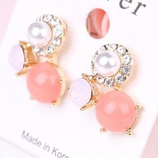 Supermary - Rhinestone Faux-Pearl Stud Earrings