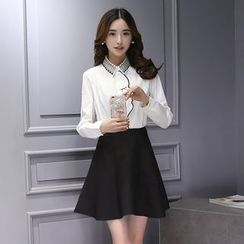Sienne - Set: Embroidered Long-Sleeve Shirt + A-Line Skirt