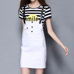 Merald - Set: Short-Sleeve Striped T-Shirt + Jumper Skirt