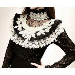 Marlangrouge - Sheer-Yoke Embellished Lace Blouse
