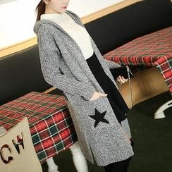 Fashion Street - Star Print Hooded Long Cardigan
