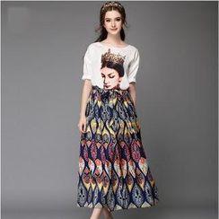 Ovette - Set: Short Sleeved Print T-shirt + Ethnic Maxi Skirt