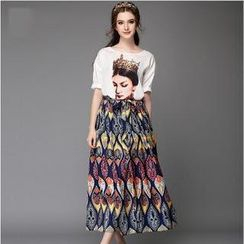Ovette - Set: Short Sleeved Print T-shirt + Maxi Skirt