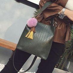 Nautilus Bags - Bobble Tasseled Faux Leather Bucket Bag