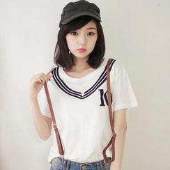Tokyo Fashion - Short-Sleeve Printed T-Shirt with Suspenders