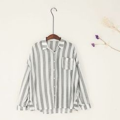 11.STREET - Pinstriped Long-Sleeve Blouse