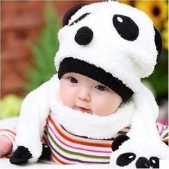 POMME - Kids Set: Panda Beanie + Scarf