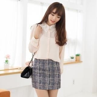 2fb - Crochet-Collar Chiffon Blouse