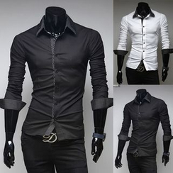 Hansel - Double-collar Long-Sleeve Shirt