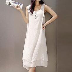Fashion Street - Set: Layered Henley Tank Dress + Elbow Sleeve Long Light Jacket