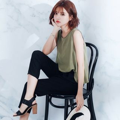 Tokyo Fashion - Sleeveless Drawstring Slit-Back Jumpsuit