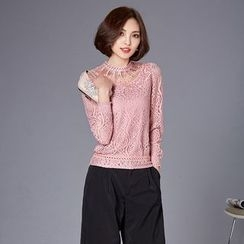 Jiuni - Perforated Long-Sleeve Lace Top