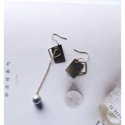 Pansy - Non-matching Geometric Pearl Earrings