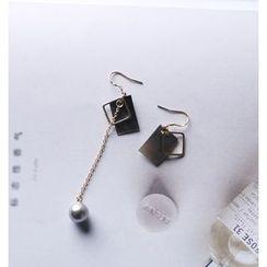 Pansy - 不对称几何珍珠耳环