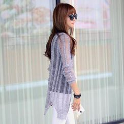 REDOPIN - Sheer Rib-Knit Cardigan