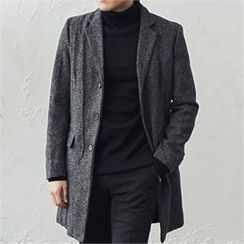 MITOSHOP - Notched-Lapel Single-Breasted Mélange Coat