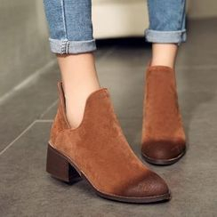 Pangmama - Burnished Block Heel Ankle Boots