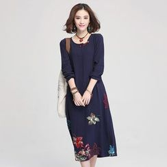 Jiuni - Embroidered Long-Sleeve Dress