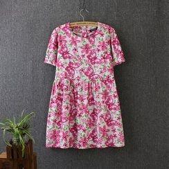Blue Rose - Floral Print Short-Sleeve Dress