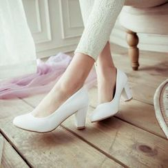 JY Shoes - Faux Leather Chunky Heel Pumps