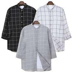 Seoul Homme - Mandarin-Collar 3/4-Sleeve Checked Shirt