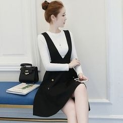 Yumerakka - Set: Long-Sleeve T-Shirt + Sleeveless V-neck  Dress